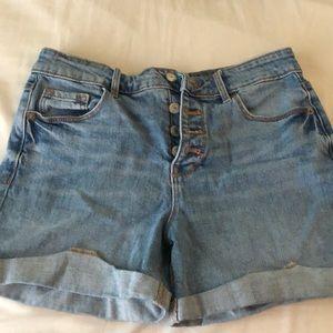 High rise light wash shorts